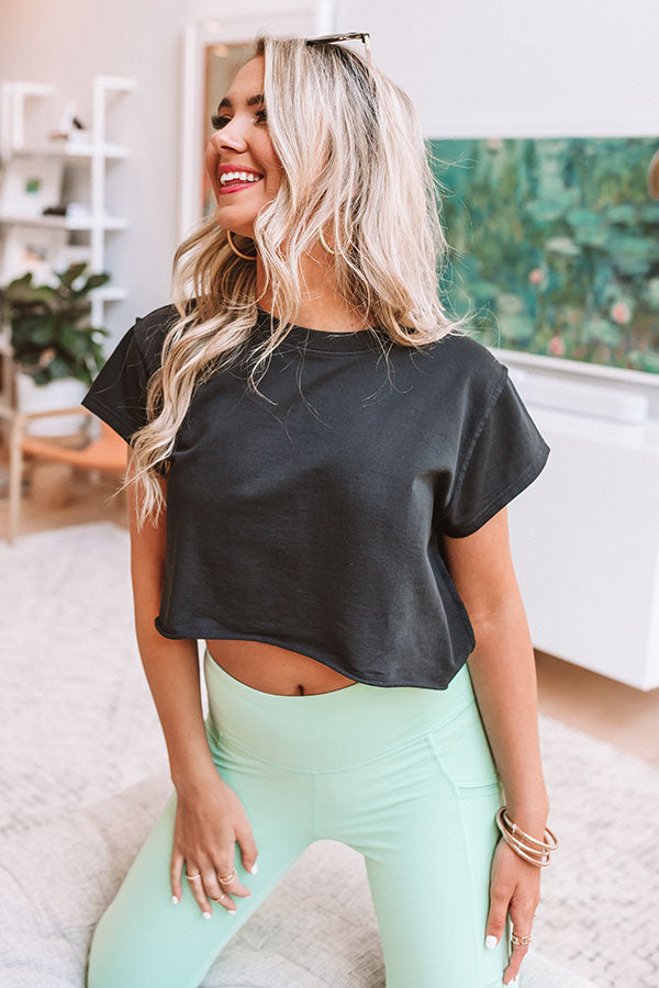 Play For The Keeps Crop Top In Black