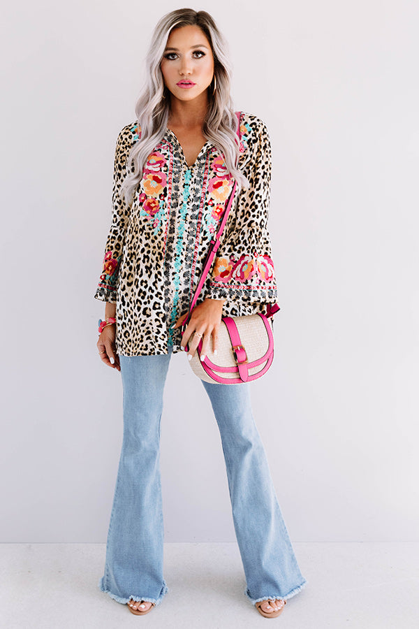 Venice Spritzers Embroidered Leopard Top