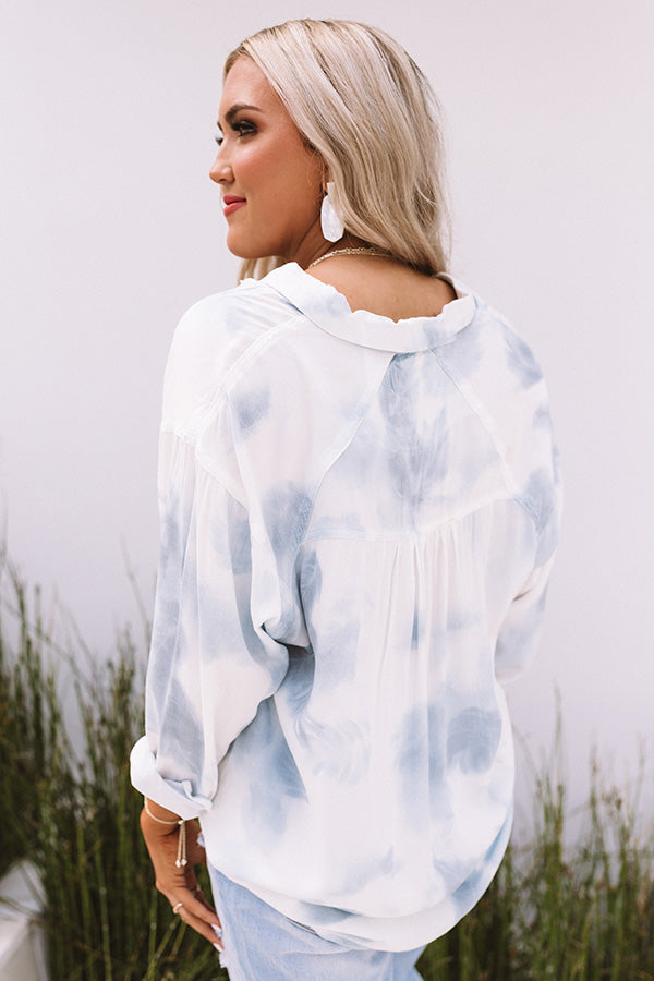 Touch The Sky Tie Dye Button Up Top