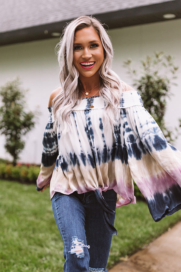Love Triangle Off Shoulder Tie Top