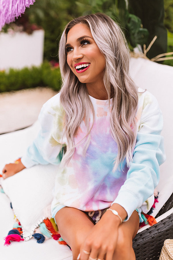 Reason To Relax Tie Dye Sweatshirt In Orange