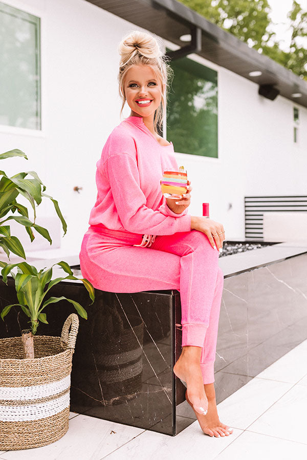Lounging In Los Angeles Sweatshirt In Hot Pink
