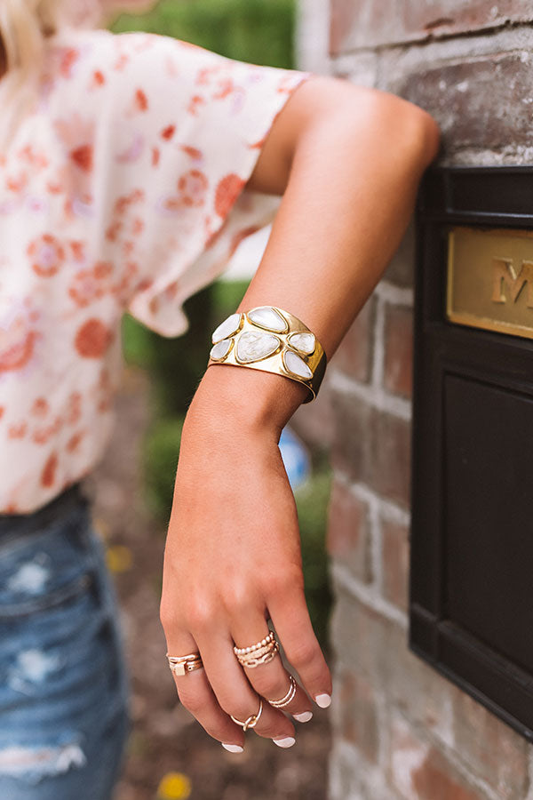 Margot Vintage Gold Statement Cuff Bracelet in White Mix