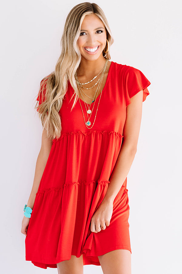 Venice On My Mind Babydoll Dress in Red