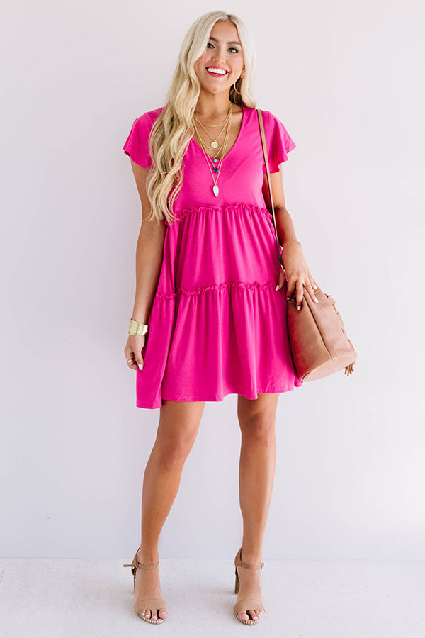 Venice On My Mind Babydoll Dress in Hot Pink