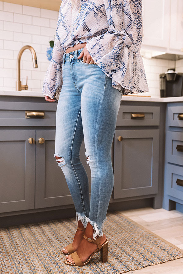 The Caterina High Waist Distressed Ankle Skinny