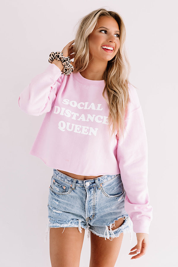 Social Distance Queen Crop Sweatshirt in Pink