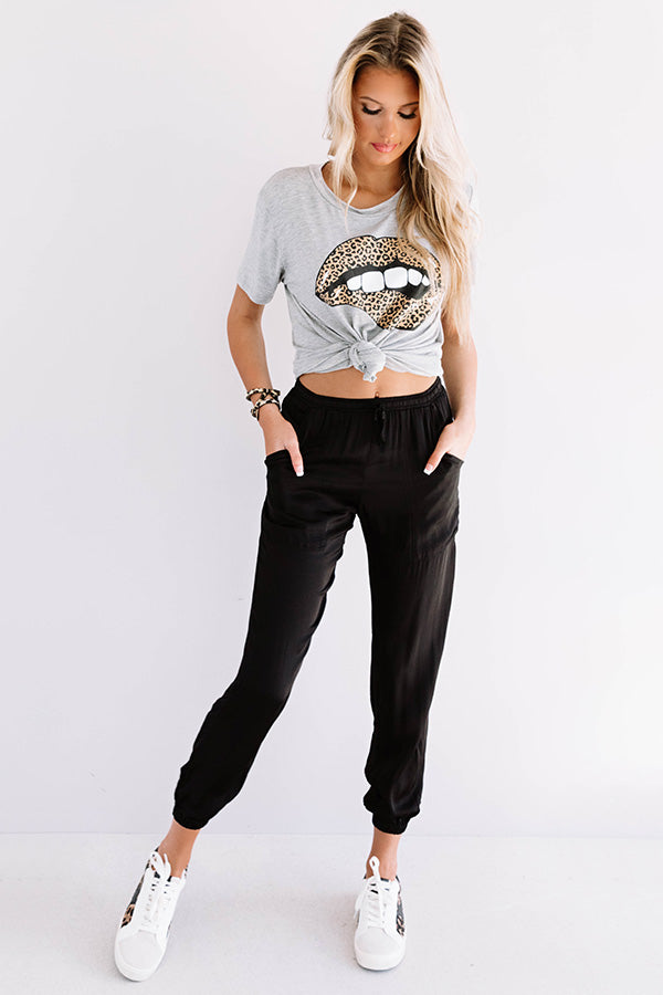 It's Glossy Leopard Lips Shift Tee In Grey