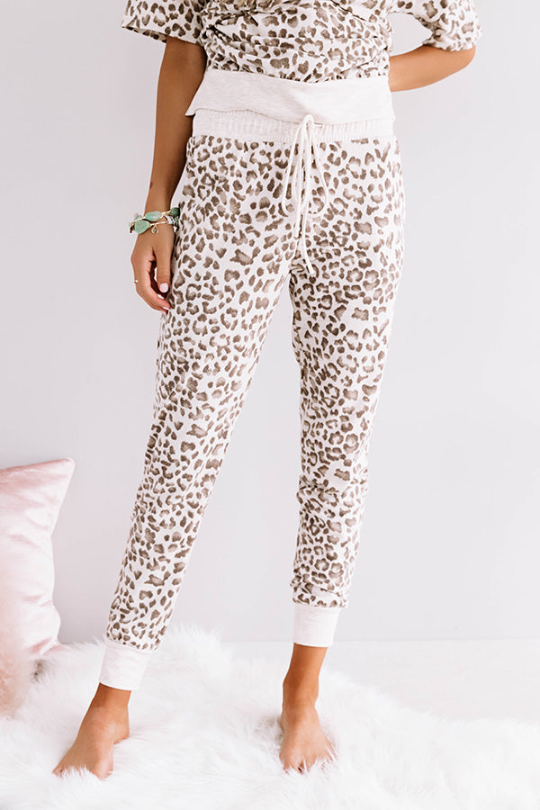 Without A Doubt Leopard Joggers In Brown