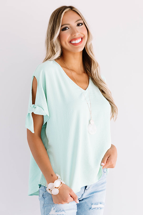 Away On A Jet Plane Shift Top In Mint
