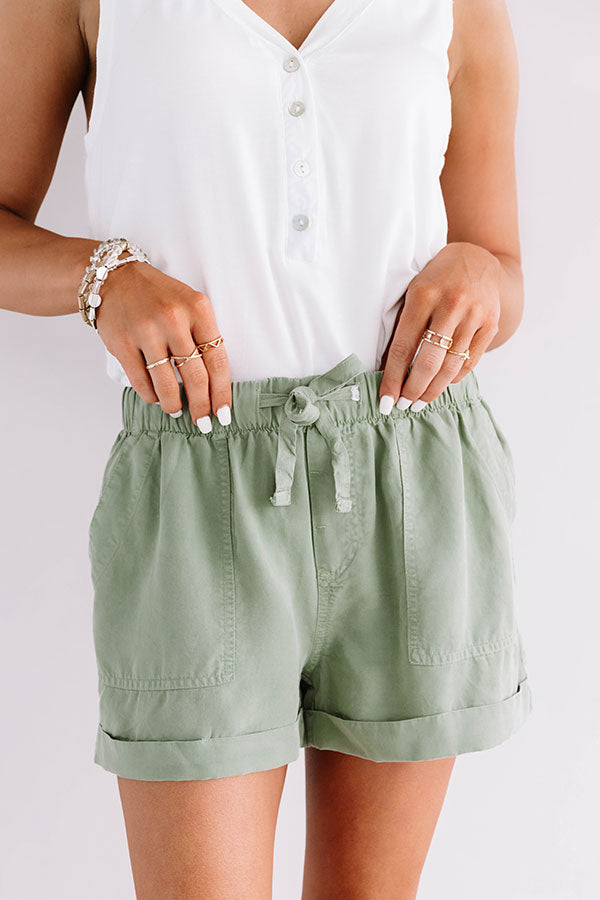 The Amalee Chambray Shorts In Sage
