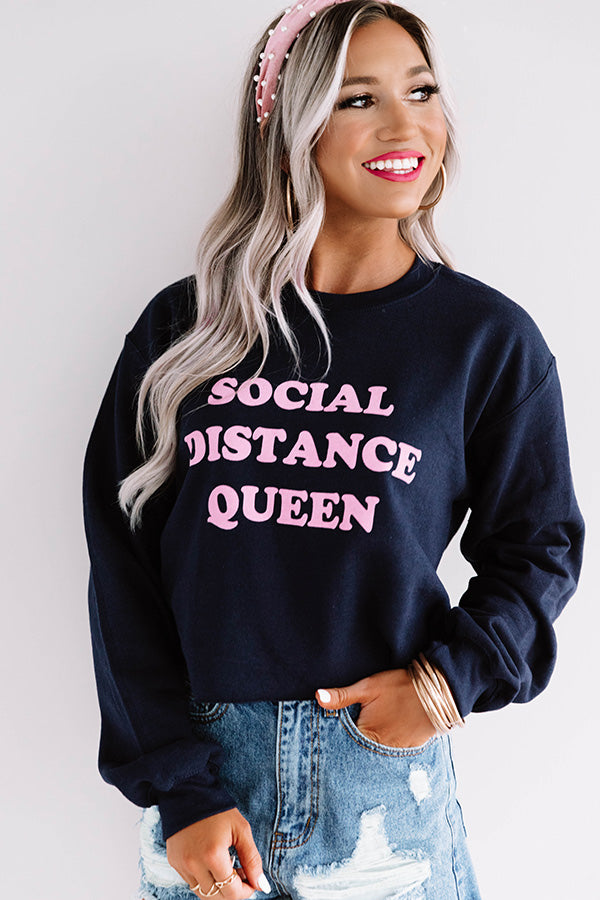 Social Distance Queen Crop Sweatshirt in Navy