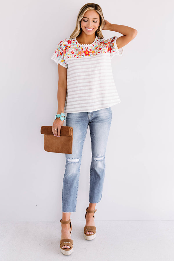 Southside Sunshine Embroidered Shift Top