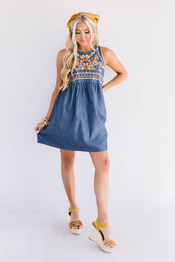 Margs In Milan Embroidered Chambray Dress