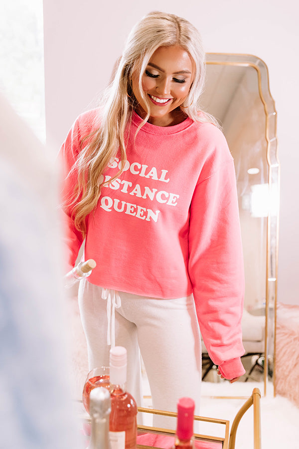 Social Distance Queen Crop Sweatshirt in Neon Pink