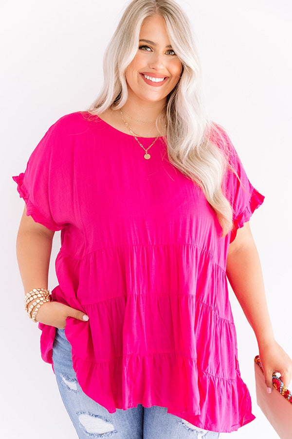 Simply Southern Babydoll Top In Hot Pink