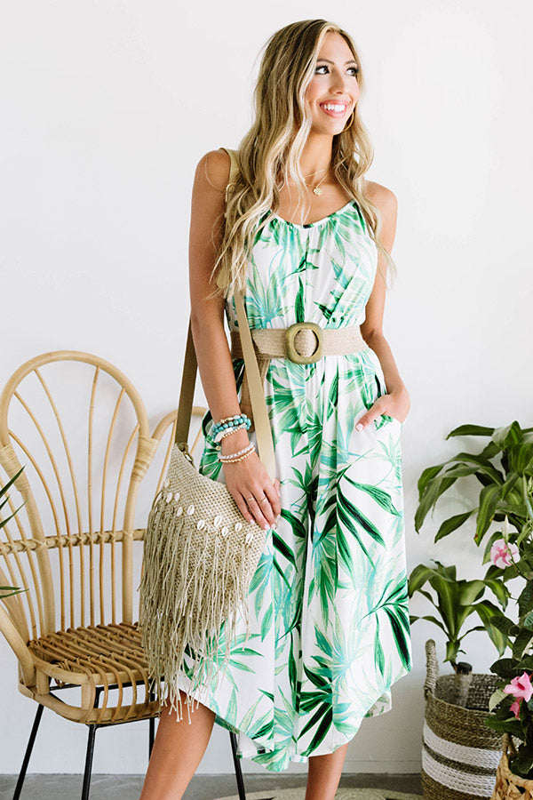 Island Essence Floral Jumpsuit In Green