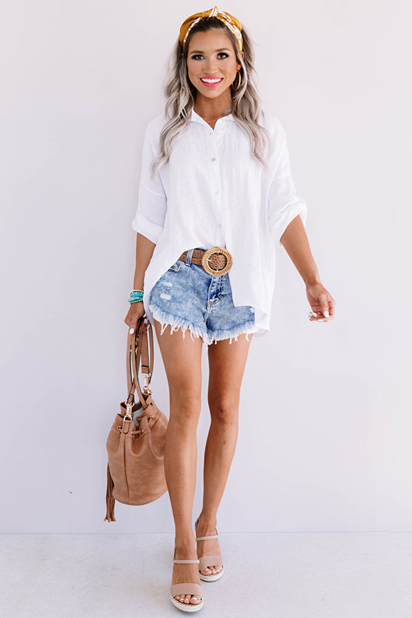 Written In The Sand Linen Button Up in White