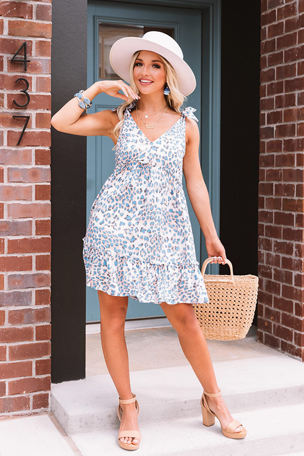 Seaside Point Babydoll Leopard Dress In Blue