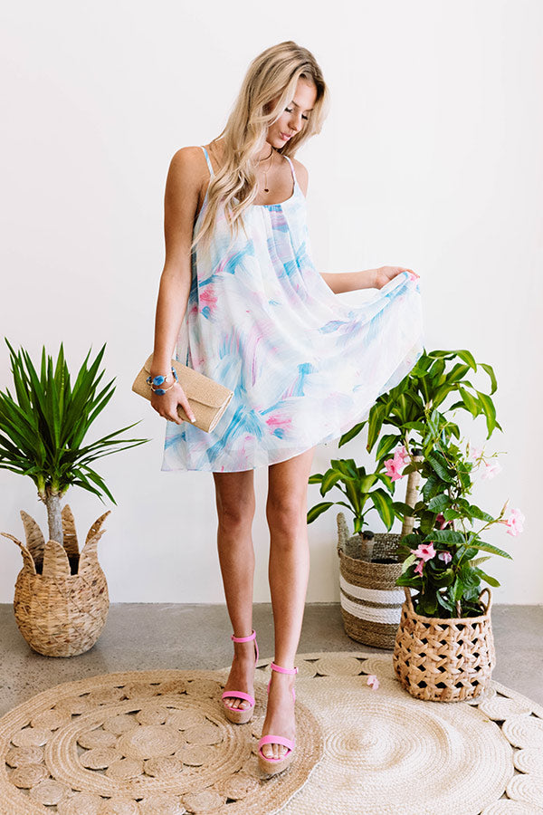 Daiquiris And Daydreams Watercolor Dress In Blue