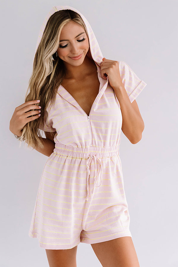 Bellinis At The Boat House Stripe Romper in Pink