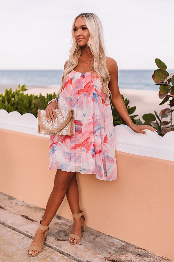 Daiquiris And Daydreams Watercolor Shift Dress In Pink