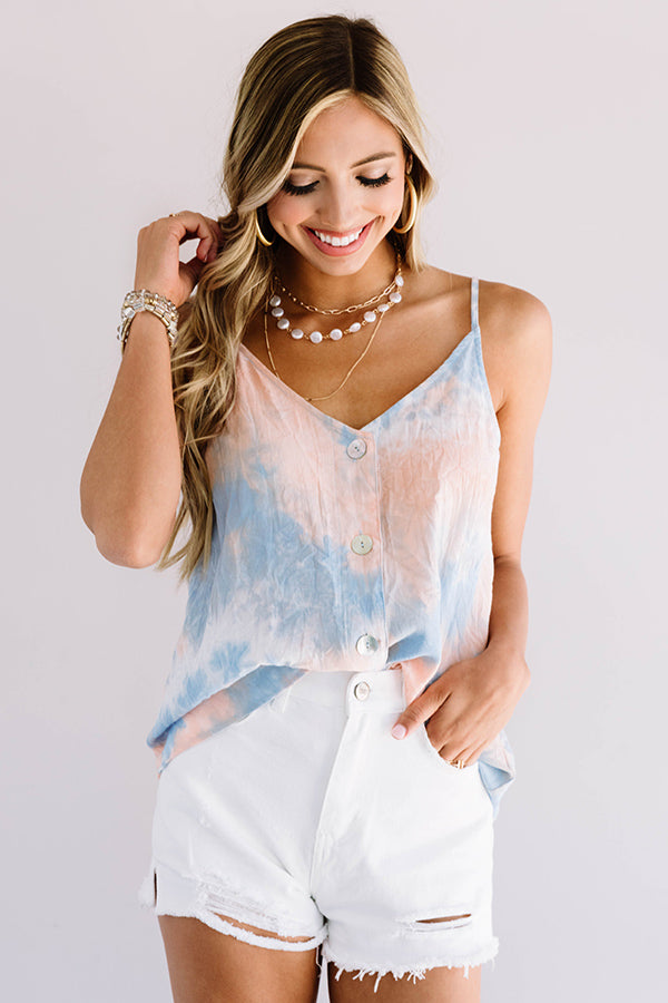 Cotton Candy Crush Tie Dye Tank In Blue