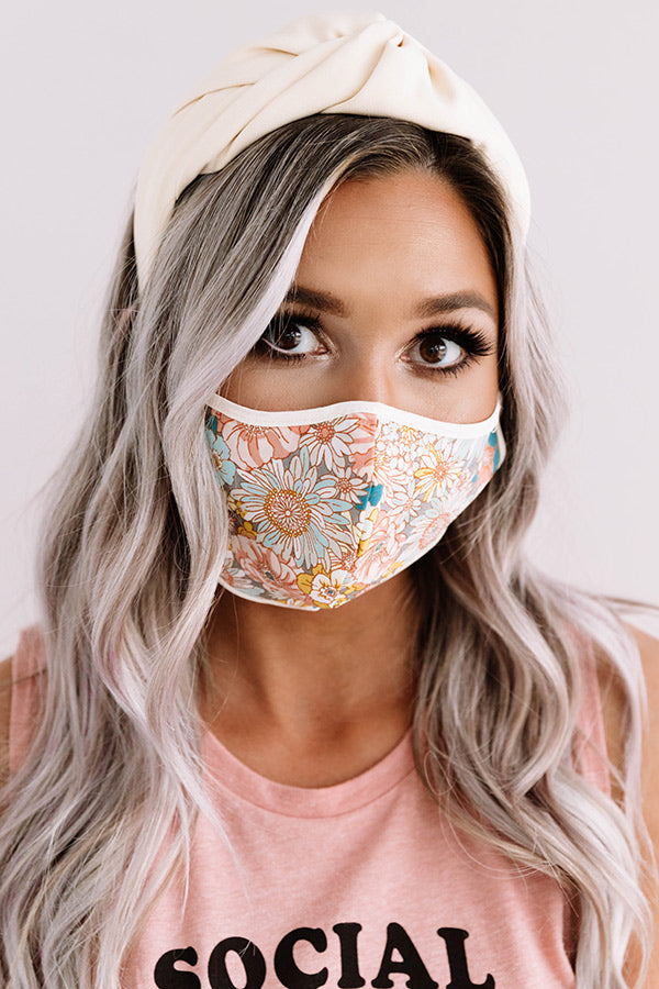 Flower Bomb Cloth Face Mask in Peach