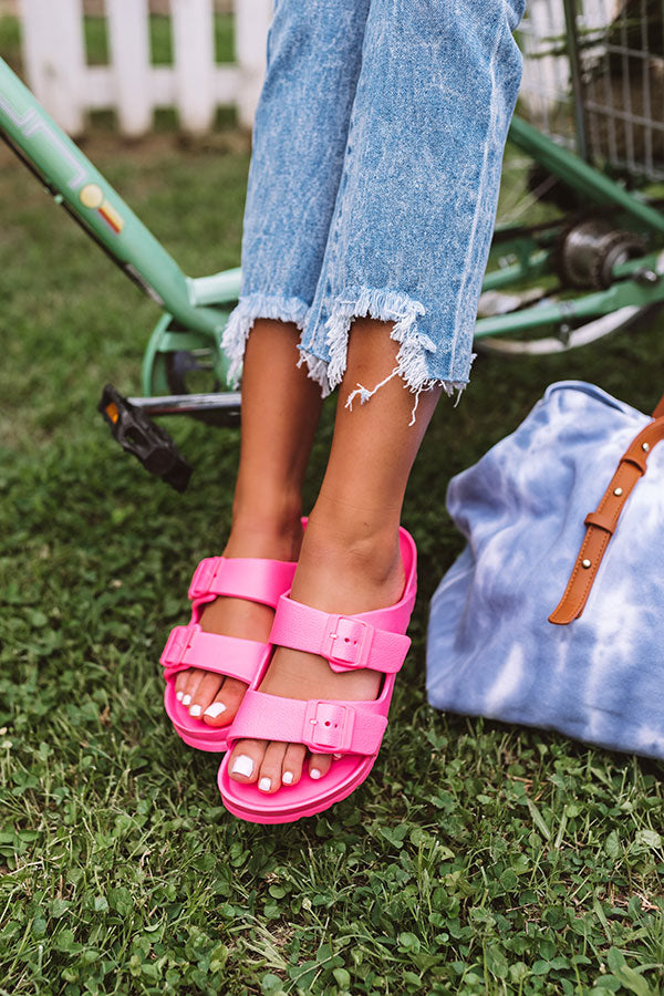 The Mandi Sandal In Neon Hot Pink