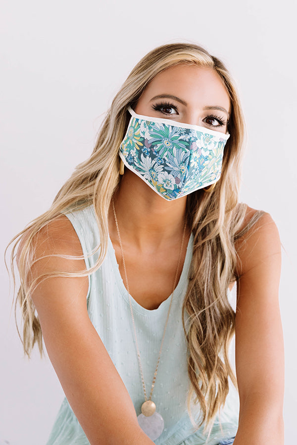 Flower Bomb Cloth Face Mask in Blue