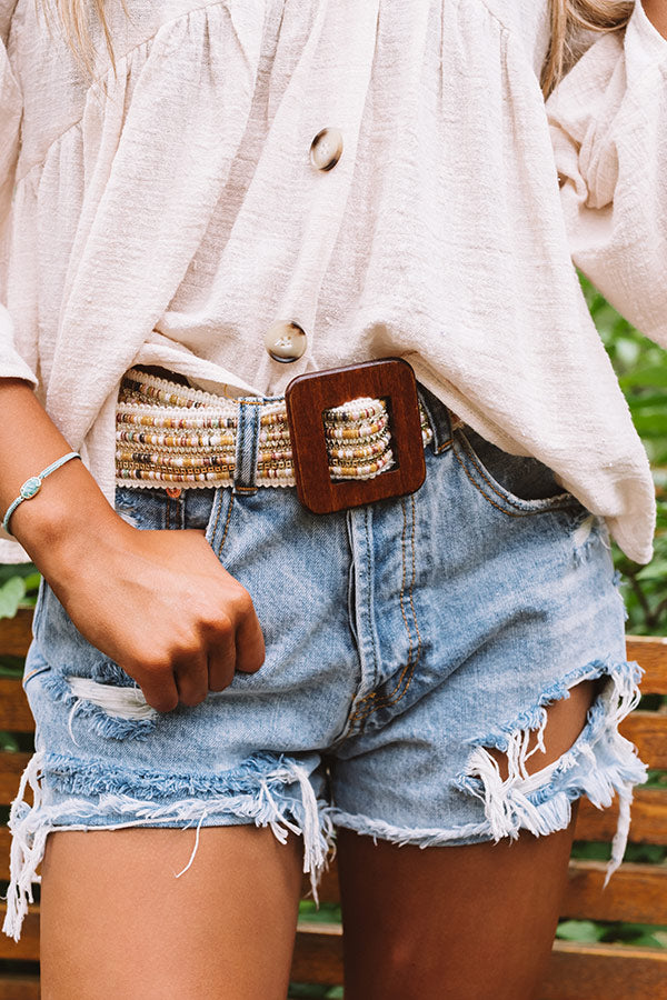 All The Way Embellished Belt In Ivory
