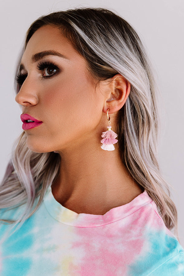 Total Toss Up Tassel Earrings In Blush