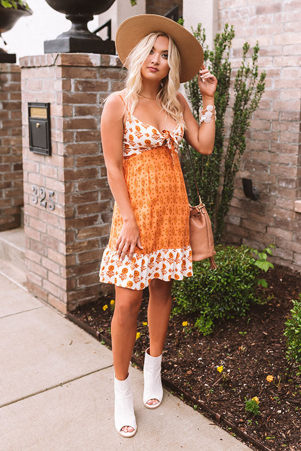Catalina Summer Front Tie Dress In Persimmon