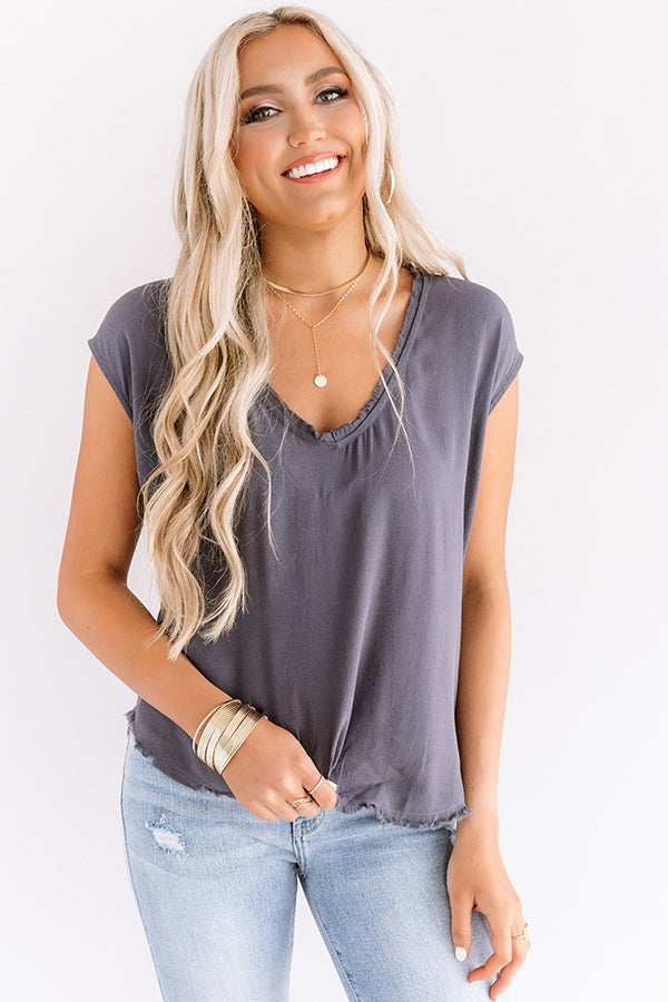NYC Influencer Shift Top in Charcoal