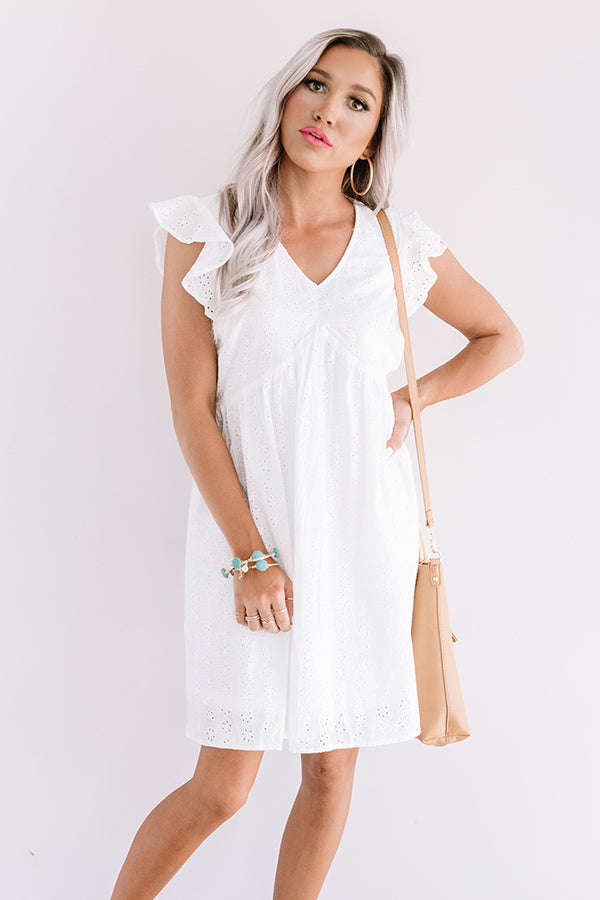 Bombay Babe Eyelet Babydoll Dress In White