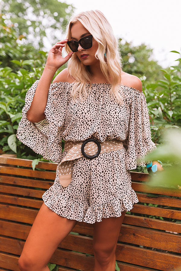 Force Of Fashion Leopard Romper in Iced Latte