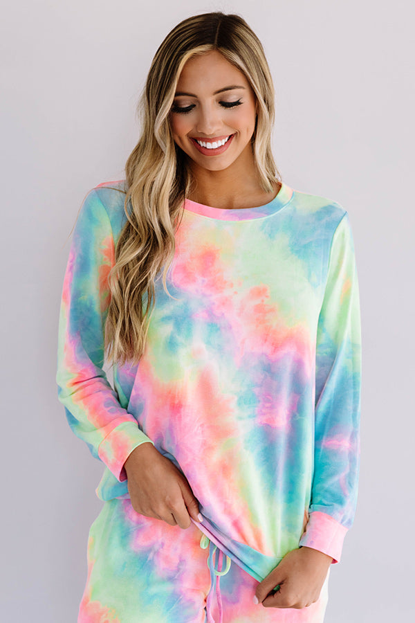 Snuggle Down Tie Dye Sweatshirt In Pink