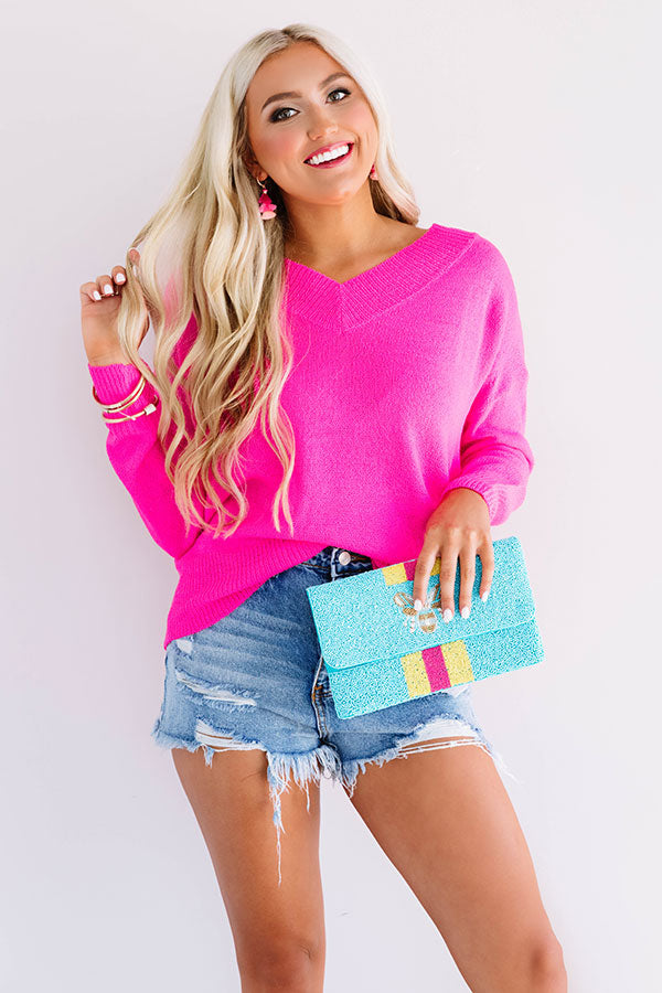 Calabasas And Chill Knit Sweater in Neon Pink