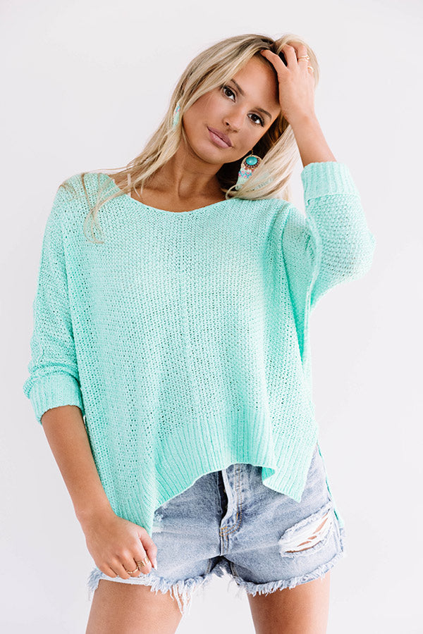 Everyday Gorgeous Knit Tunic In Ocean Wave