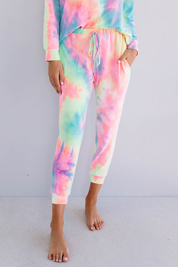 Snuggle Down Tie Dye Joggers In Pink