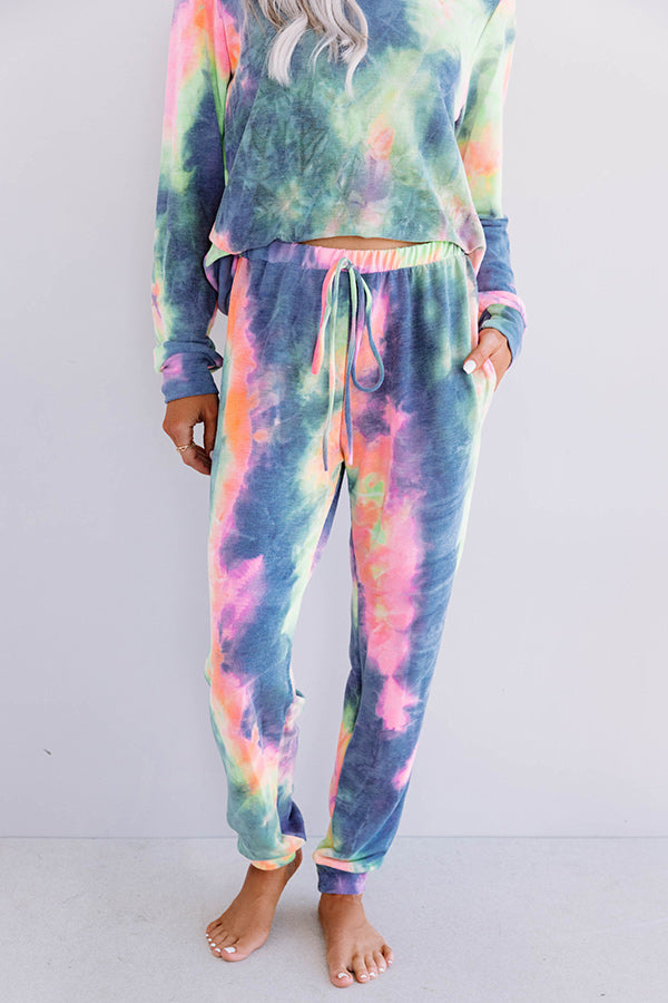 Snuggle Down Tie Dye Joggers In Navy