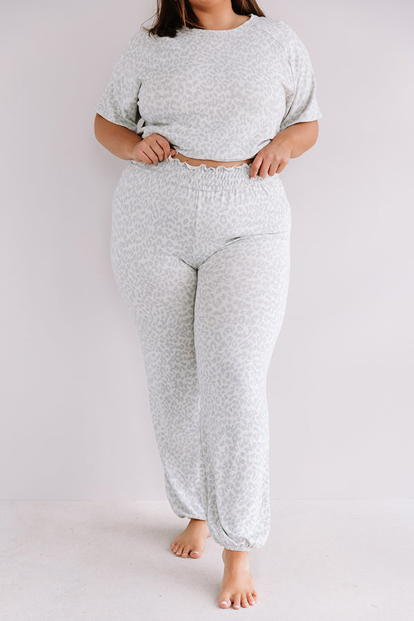 Committed To Cozy Leopard Joggers In Grey