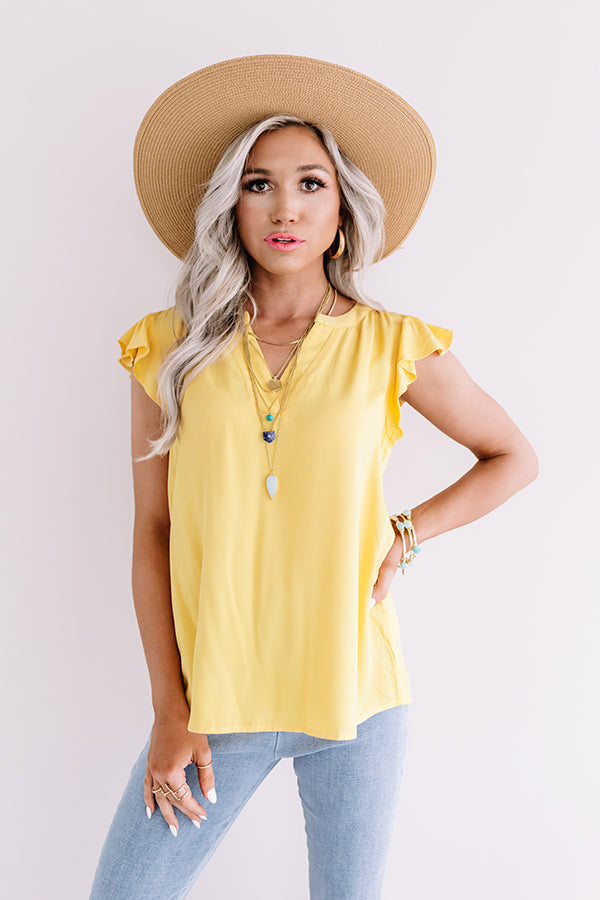 Cambridge Crush Shift Top In Yellow