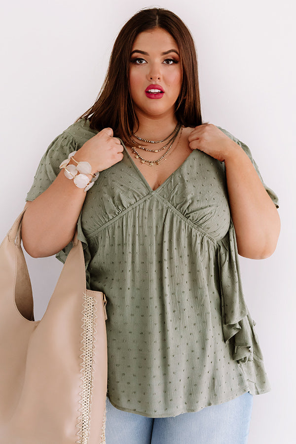 Ahead Of The Curve Babydoll Top In Olive