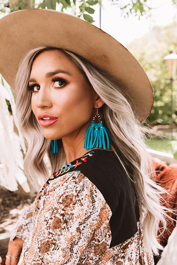 The Havana Tassel Earrings in Turquoise