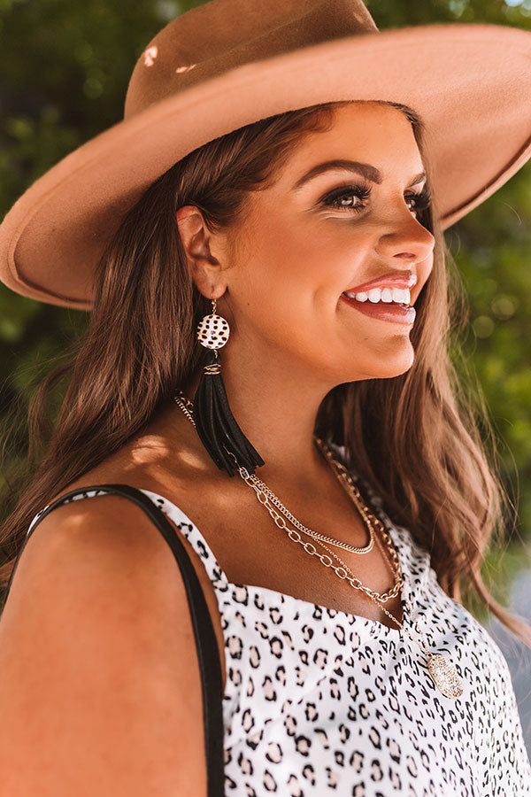 The Daphne Arabic Spotted Shell Earrings in Black