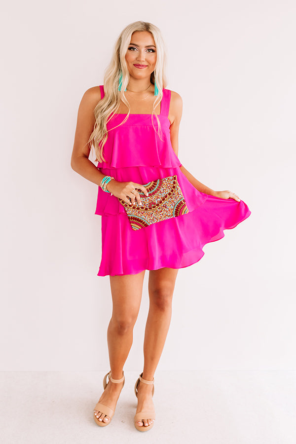 Darling Destination Tiered Dress In Hot Pink