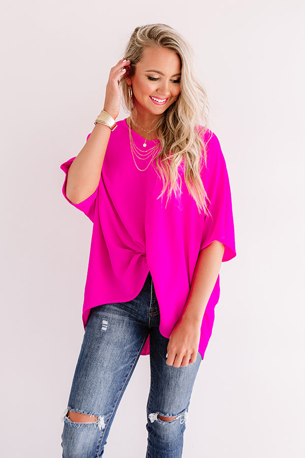 Weekend Picnic Shift Top in Hot Pink