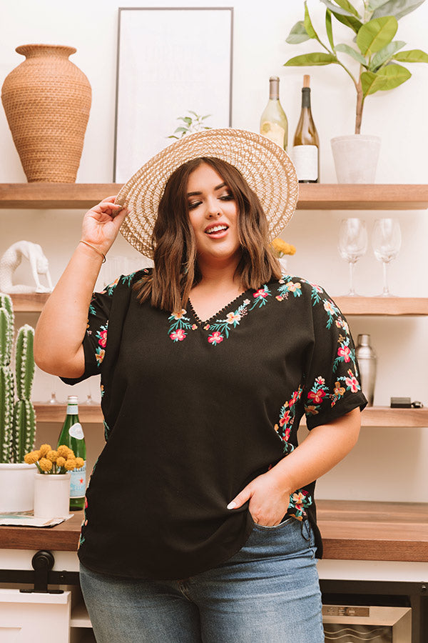 Hey, Senorita Embroidered Top In Black