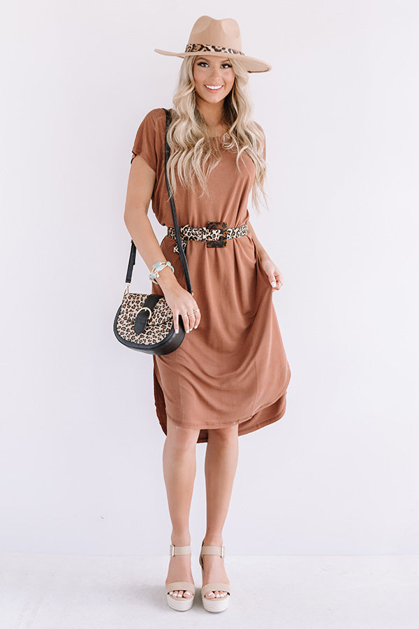Huntington Beach Happy Hour Midi In Brown